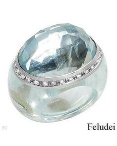 FELUDEI - Made In Italy Aquamarine Ring Designed In 18K White Gold