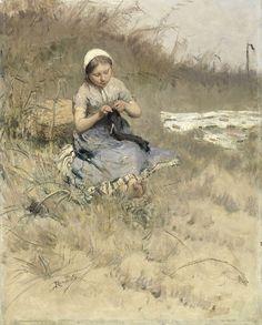 Girl Knitting, Bernardus Johannes Blommers, 1885 - 1886