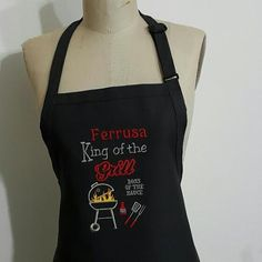 "Personalized Extra Large ""BBQ Grill King"" Men's Apron -Mens Aprons, Grilling Aprons, Large Size Aprons, Men's BBQ Aprons-Father's day Gift by Wheelering on Etsy"
