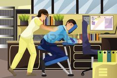 A illustration of massage therapist working on a client using a massage chair in an office
