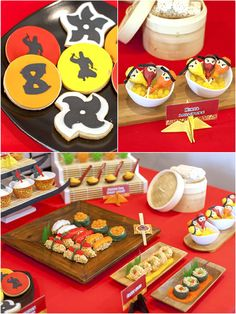 Ninja Japanese inspired Origami Dojo themed birthday party with lots of great ideas on party decorations, DIY party favors, party activities, decor, printables and desserts table styling as well as some awesome party games and activities like Ninja Training and DIY Kokeshi - via BirdsParty.com