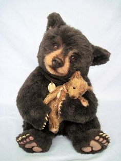 A Teddy For Bear (Billy and Shush) by Joanne Livingston of Desertmountainbear.  This pair are OOAK and multi-award winners.