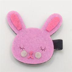 Sweetie Bunny Head Hair Clips Pink Shy Rabbit Felt Hairpin Cute Fashion Cartoon Animal Hair Clips Girls Pretty Pretty Hair Grips