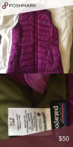 Patagonia purple vest Patagonia purple vest Worn only a couple times. Girls size xl fits like a small in woman's! I wear a small or xs and fits me perfectly. Patagonia Jackets & Coats Vests
