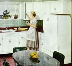 Eight Photos of 1950s Kitchens- white cabinets sea glass backsplash, mint walls red accents