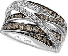 LeVian Le Vian White (1/6 ct. t.w.) and Chocolate (3/4 ct. t.w.) Diamond Crossover Ring in 14k White Gold on shopstyle.com.au
