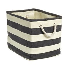 "Rugby Stripe Bins - Small Rugby Stripe Bin Charcoal & Ivory 15"" x 10"" x 11-1/2"" h ( a few color options)"