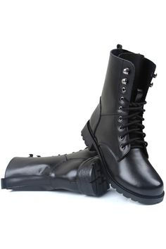 Romwe.com Lace Up Low-heel Black Martin Boots  $85.99 #Romwe