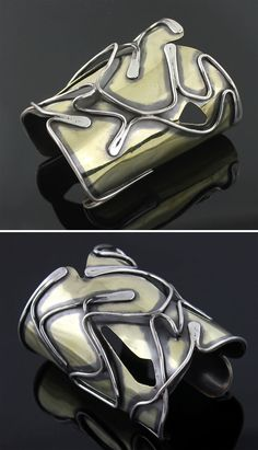 "Cuff | Art Smith. ""Baker"". Silver and brass. ca. 1950s 