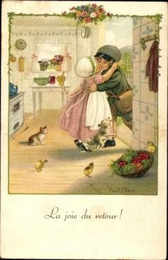 The joy of the return !  Vintage postcard