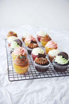Multiple cupcakes recipes including a dependable vanilla cupcake - thin mint, banana, red velvet, lemon