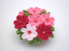Red Pink Flowers Hair Clip/ Kanzashi Inspired/ Red by JagataraArt