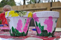 handpainted flower pots for Mother's Day