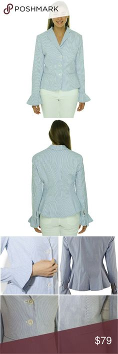 """Striped Seersucker Peplum Jacket This adorable, blue and white striped, preppy jacket is perfect for the office or an interview. Jacket is made from a lightweight cotton seersucker with a peplum hem. Has padded shoulders, 3 buttons and notched lapels. Long Sleeved with button and loop closure bell cuffs. 100% cotton Size 6 NWOT  Bust 38"""" Length 20"""" Ralph Lauren Jackets & Coats Blazers"""