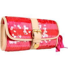 Love this color. I want it.  Juicy Couture - Super Star Georgie Clutch #sparkle #sequin #pink #summer