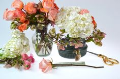Step 2 using the Flowers by Number, DIY Flower arranging kit. #DIYflowerarrangingkit