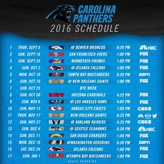 Carolina Panthers 2016 Schedule