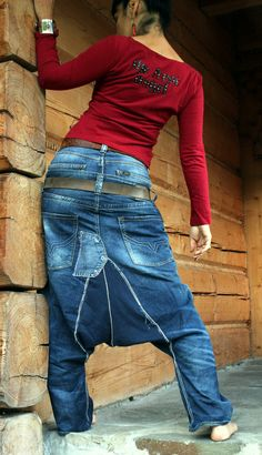Harem Yoga jeans recycled pants by jamfashion on Etsy