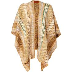 MISSONI Honey/Emerald Contrast Knit Cape (49.160 RUB) ❤ liked on Polyvore featuring tops, jackets, outerwear, sweaters, cardigans and missoni