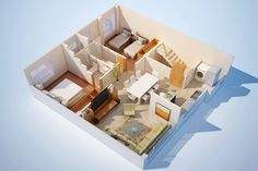 3D Colored Modern Small House Floor Plans Free