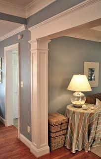 NICE!!!!!!! Love the column and overhead molding. Must do for our entryway into den/living room. Edith
