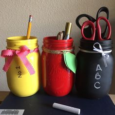 A personal favorite from my Etsy shop https://www.etsy.com/listing/291938133/painted-mason-jar-set-teacher-gift
