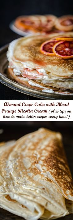 Delicate paper-thin crepes smothered with ricotta cream, drenched in a blood orange syrup and stacked sky high! #crepecake #crepes #ricottacream