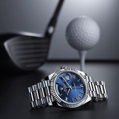 The Rolex Day-Date 40 in 18ct white gold with a blue dial, a fluted bezel and President bracelet.