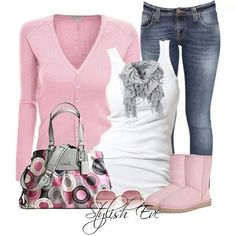 In the pink ! I'd go with gray or black boots though. More age appropriate for me.