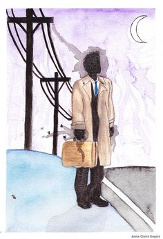 The Man in the Tan Jacket with a Deerskin Suitcase (Welcome to Night Vale) A WTNV/SPN(sort of) mash-up water colour