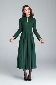 Details: * Made from soft wool fabric,polyester lining * mandarin collar *long cap sleeves * Regular fit *back zipper *pleated dress *Length approx 110 cm * SIZE GUIDE http://etsy.me/2AC9UzJ NOTE Please leave us your body measurement When you Place an order, they will help us check the size