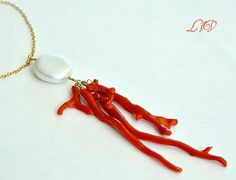 Pearl and Coral Necklace by luxurybyvera on Etsy, www.luxurybyvera.com
