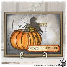 tammytutterow | Raven on Pumpkin Halloween Card using Tim Holtz dies, stamps and inks