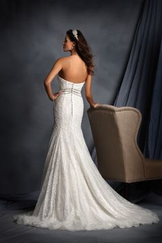 Destination Style - Classic Elegance from Alfred Angelo Collections!  Mirrored Linear Trim Signature Wedding Gown: 2498  This designer wedding dress is constructed of delicate all over lace and net. The linear silver rhinestone beaded trim at the empire waistline is mirrored in the matching halter strap.  http://theantibridezilla.com/post/119190989587/photoset_iframe/theantibridezilla/tumblr_nofah6IVoM1rmrycv/500/false