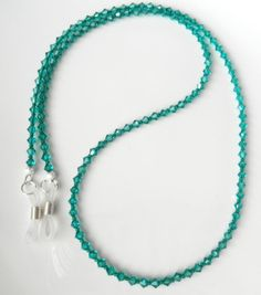 Teal Green Beaded Eyeglass Chain Banded Agate Green Eyeglass Chain