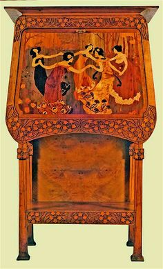 Gaspar Homar i Mesquida (1870-1953) & Josep Pey (1875-1956) - Secretary Desk with Marquetry Panel of Dancing Girls. Carved Oak with Hardwood & Fruitwood Marquetry Inlaid Panels. Barcelona, Spain. Circa 1904. 179cm x 99.5cm x 45.5cm.