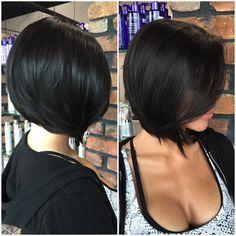 Layered Side-Parted Bob Medium Long Hair, Medium Hair Styles, Short Hair Styles, Haircut For Thick Hair, Haircut And Color, Cute Bob Haircuts, Choppy Bob Hairstyles, Hair Lengths, Short Hair Cuts