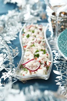Siikaceviche // White fish Ceviche Food & Style Kati Pohja Photo Timo Villanen Maku www. Christmas Kitchen, Ceviche, Fish And Seafood, Seafood Recipes, Pasta Salad, Food Inspiration, Tapas, Recipies, Food And Drink