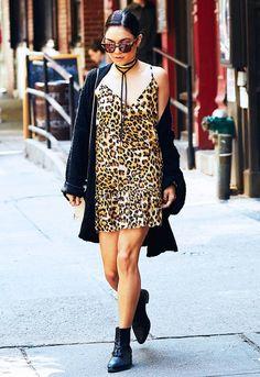 Vanessa Hudgens: ONE x OneTeaspoon Ford Society Leopard Print Dress ($162); AllSaints boots.