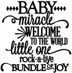 Silhouette Online Store: baby, miracle, little one, rock-a-bye, bundle of joy - vinyl phrase