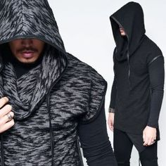 Dark Edge Oversized Hood Poncho Knit-Tee 481