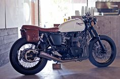 Triumph cafe racer, at the local coffee bar