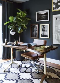 Dark, Modern and Masculine home office with gallery wall and not your traditional office desk. Designed by Emily Henderson Cozy Home Office, Home Office Decor, Office Rug, Office Ideas, Home Office Colors, Apartment Office, D House, Cozy House, Office Interior Design