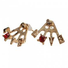 Sweet Love Red Rhinestone Stud Earrings | favwish - Jewelry on ArtFire