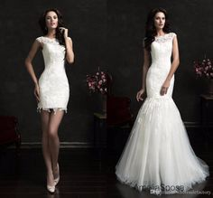 2017 New Lace Mermaid Wedding Dresses Cap Sleeve Bridal Gowns with Detachable Train Appliqued