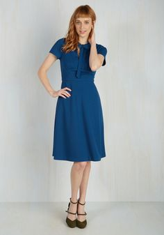 Archival Revival Dress in Lake Blue. Your files show that a classic A-line dress with a retro twist will take you far in the fashion world! #blue #modcloth