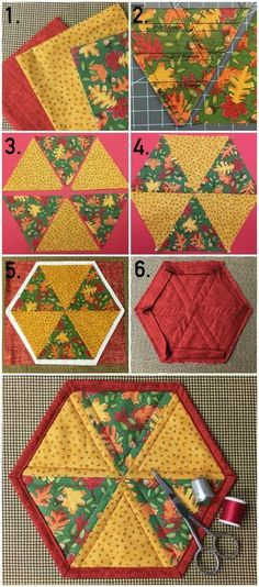 Hexagon Mug Rug Pattern & Tutorial on Craftsy This month, we're celebrating fall with a beautiful hexagon mug rug. Learn how to whip up this project in a weekend with your fabric scraps. Mug Rug Patterns, Quilt Patterns, Sewing Patterns, Tatting Patterns, Canvas Patterns, Patchwork Quilt, Mini Quilts, Star Quilts, Hexagon Quilting