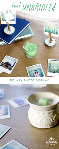 Add a free-spirited vibe to any space with this easy DIY project. Just take stained wooden clothespins, mason jar lids and a little sand to make these fun photo displays. Carry the memories throughout the house with the scent of Glade Hello Spring wax melts.