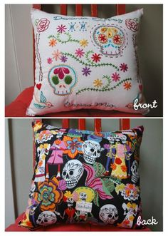Claudia Marchán covered her pillow with patterns from sublime stitches new book of sugar skulls, flourishes, roses and swallows.