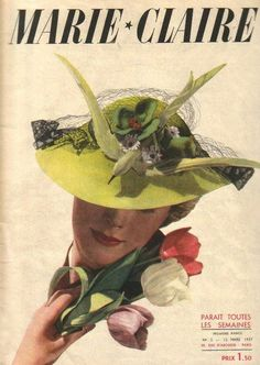 This fabulous faux bird hat graces the cover of a 1937 edition of Marie Claire magazine